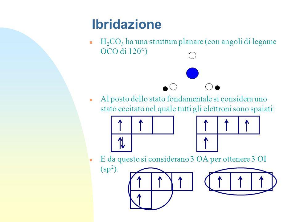 Ibridazione n H 2 CO 3 ha una struttura planare (con angoli di legame OCO di 120°) n Al posto dello stato fondamentale si considera uno stato eccitato