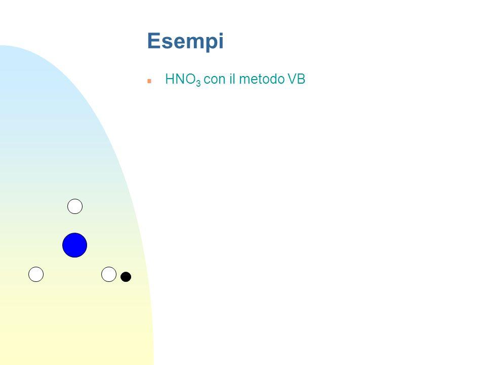 Esempi NH 3 con il metodo VB Si parte dallo stato fondamentale di N: Si utilizzano tutti gli OA per ottenere altrettanti OI 4 OI sp 3 3 elettroni spai