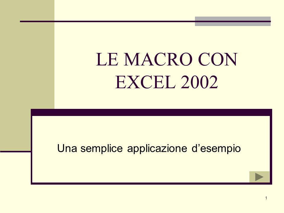 1 LE MACRO CON EXCEL 2002 Una semplice applicazione desempio