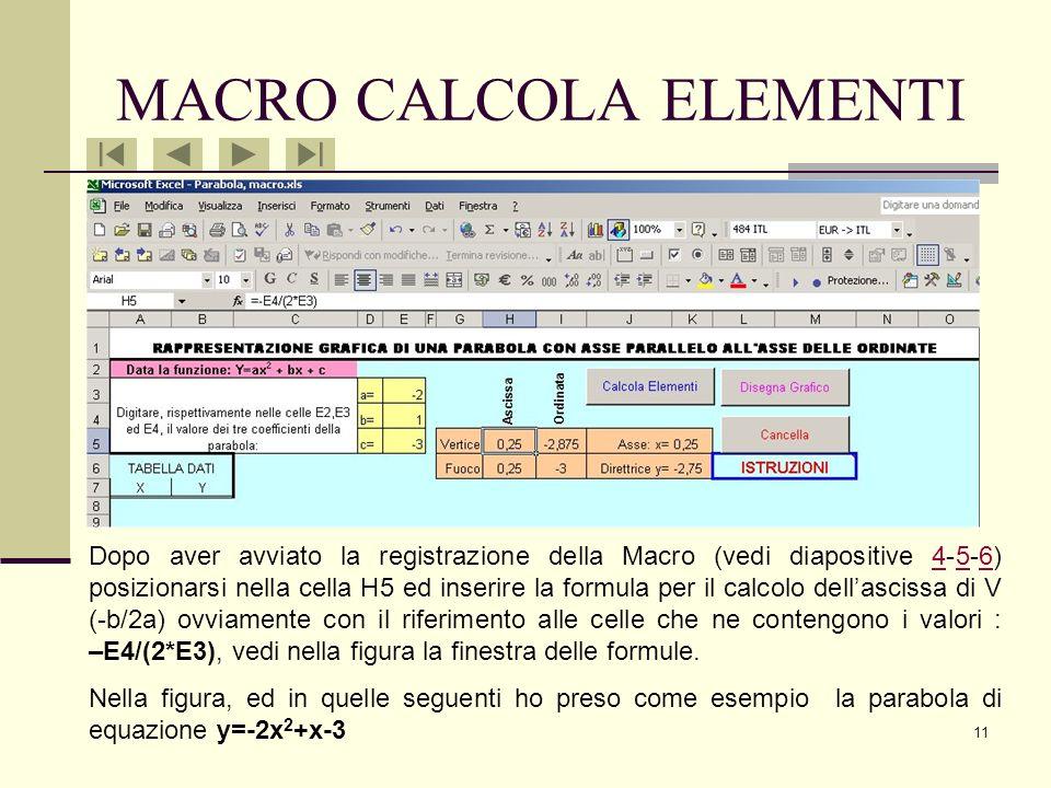 10 A questo punto lalunno deve inserire nelle celle E3, E4 ed E5 i valori dei coefficienti dei termini della parabola di cui vuole la rappresentazione