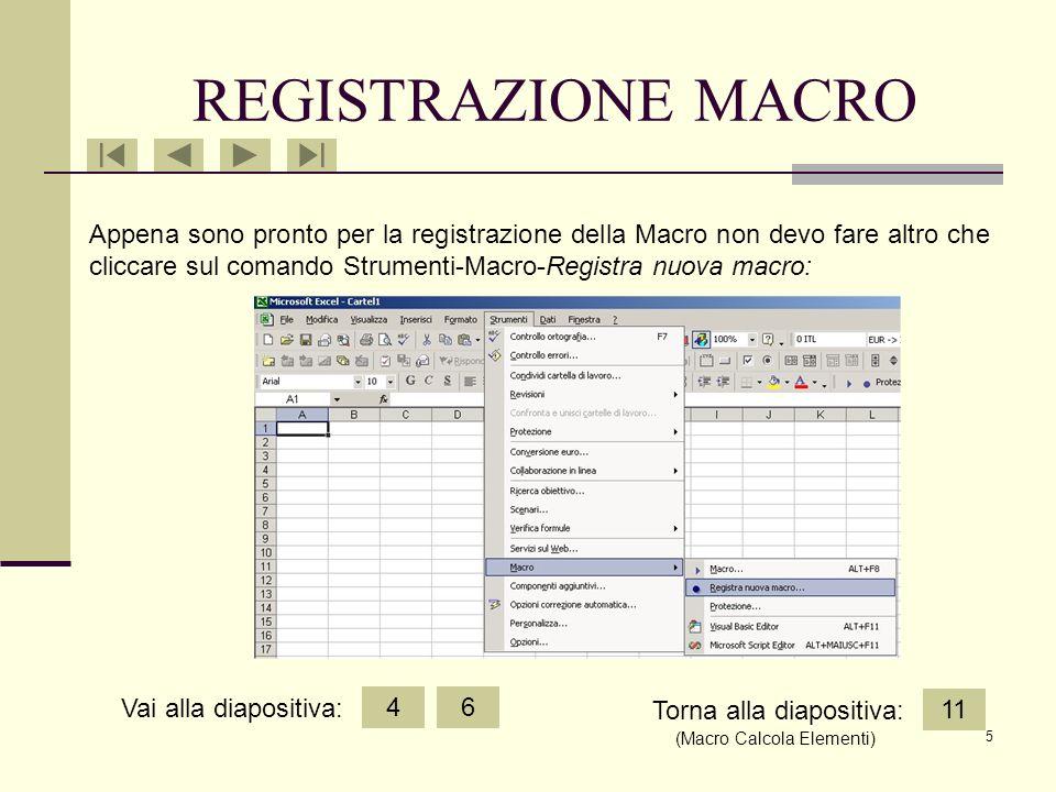 5 Appena sono pronto per la registrazione della Macro non devo fare altro che cliccare sul comando Strumenti-Macro-Registra nuova macro: REGISTRAZIONE MACRO 46 11 Vai alla diapositiva: Torna alla diapositiva: (Macro Calcola Elementi)