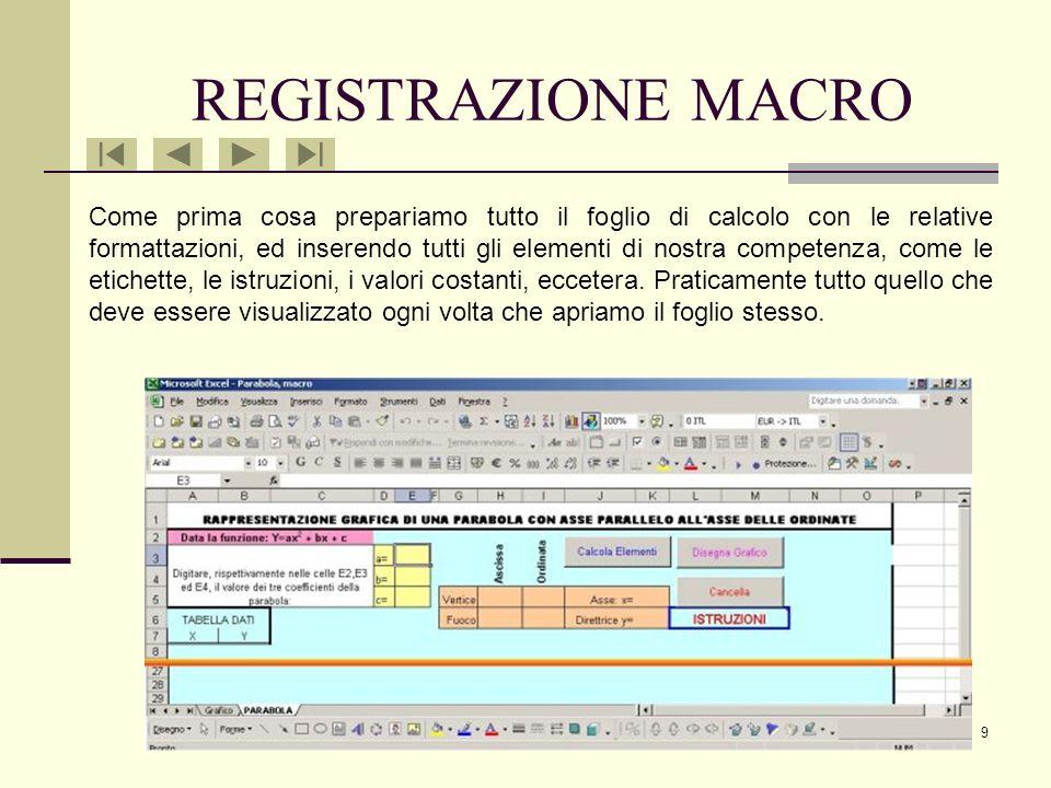 19 MACRO CANCELLA La terza Macro è la più semplice di tutte, dopo aver avviato la registrazione seleziono tutte le celle in cui ci sono i valori da cancellare (quelle in cui abbiamo immesso i valori dei coefficienti e tutte quelle con i valori calcolati dalle altre due Macro).