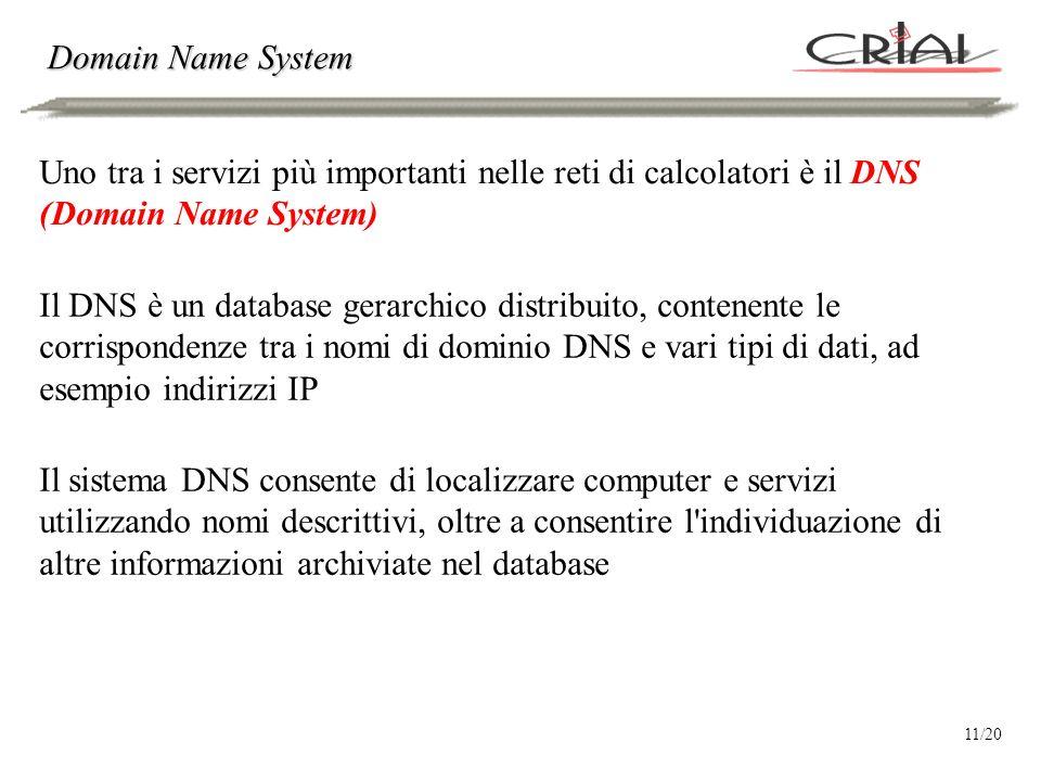 Domain Name System Uno tra i servizi più importanti nelle reti di calcolatori è il DNS (Domain Name System) Il DNS è un database gerarchico distribuito, contenente le corrispondenze tra i nomi di dominio DNS e vari tipi di dati, ad esempio indirizzi IP Il sistema DNS consente di localizzare computer e servizi utilizzando nomi descrittivi, oltre a consentire l individuazione di altre informazioni archiviate nel database 11/20