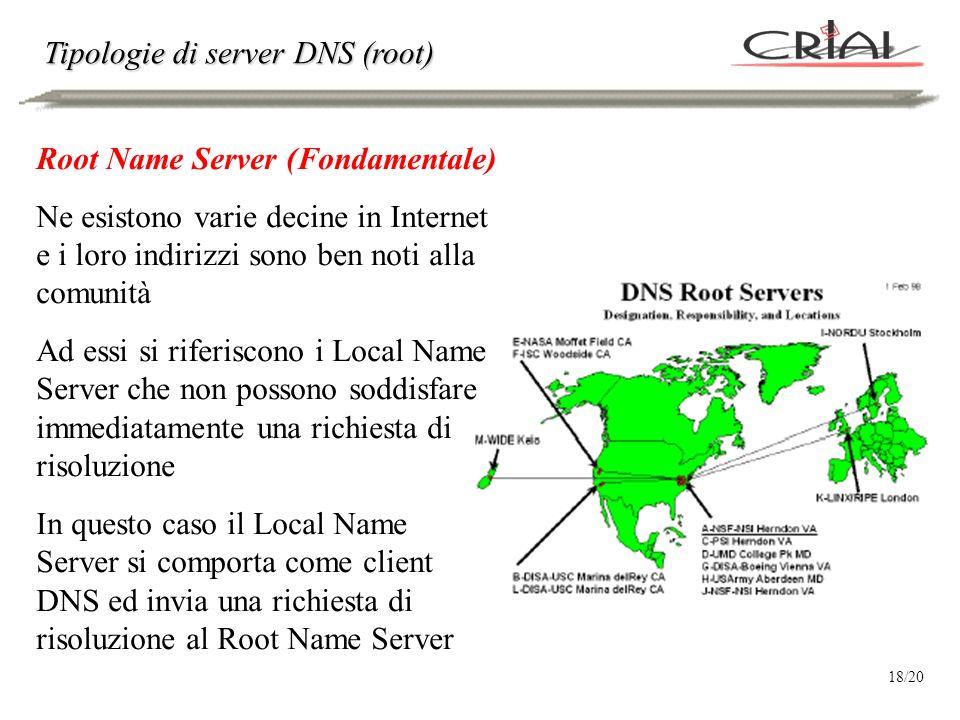 Tipologie di server DNS (root) Root Name Server (Fondamentale) Ne esistono varie decine in Internet e i loro indirizzi sono ben noti alla comunità Ad essi si riferiscono i Local Name Server che non possono soddisfare immediatamente una richiesta di risoluzione In questo caso il Local Name Server si comporta come client DNS ed invia una richiesta di risoluzione al Root Name Server 18/20