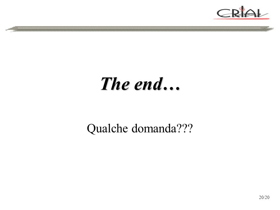 The end… Qualche domanda 20/20