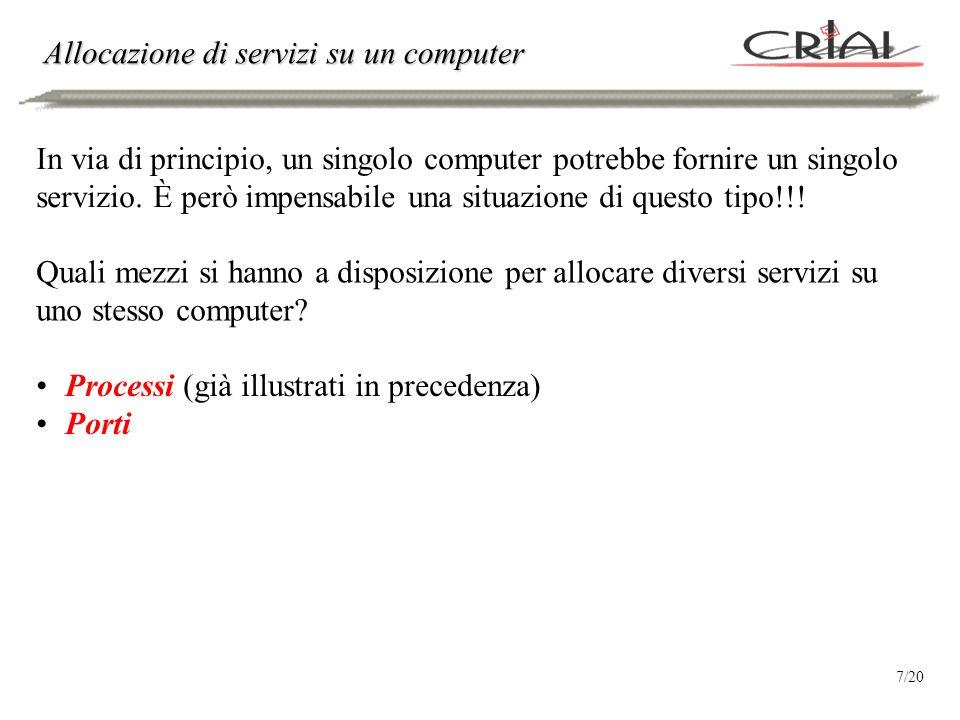 Allocazione di servizi su un computer In via di principio, un singolo computer potrebbe fornire un singolo servizio. È però impensabile una situazione