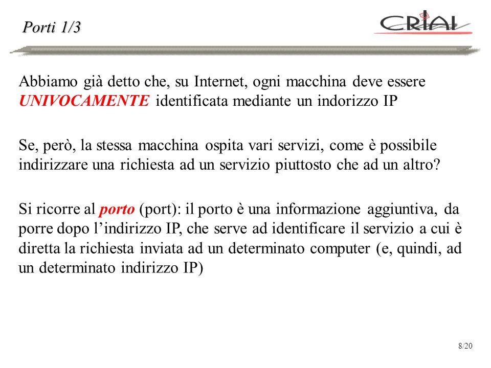 Porti 1/3 Abbiamo già detto che, su Internet, ogni macchina deve essere UNIVOCAMENTE identificata mediante un indorizzo IP Se, però, la stessa macchina ospita vari servizi, come è possibile indirizzare una richiesta ad un servizio piuttosto che ad un altro.