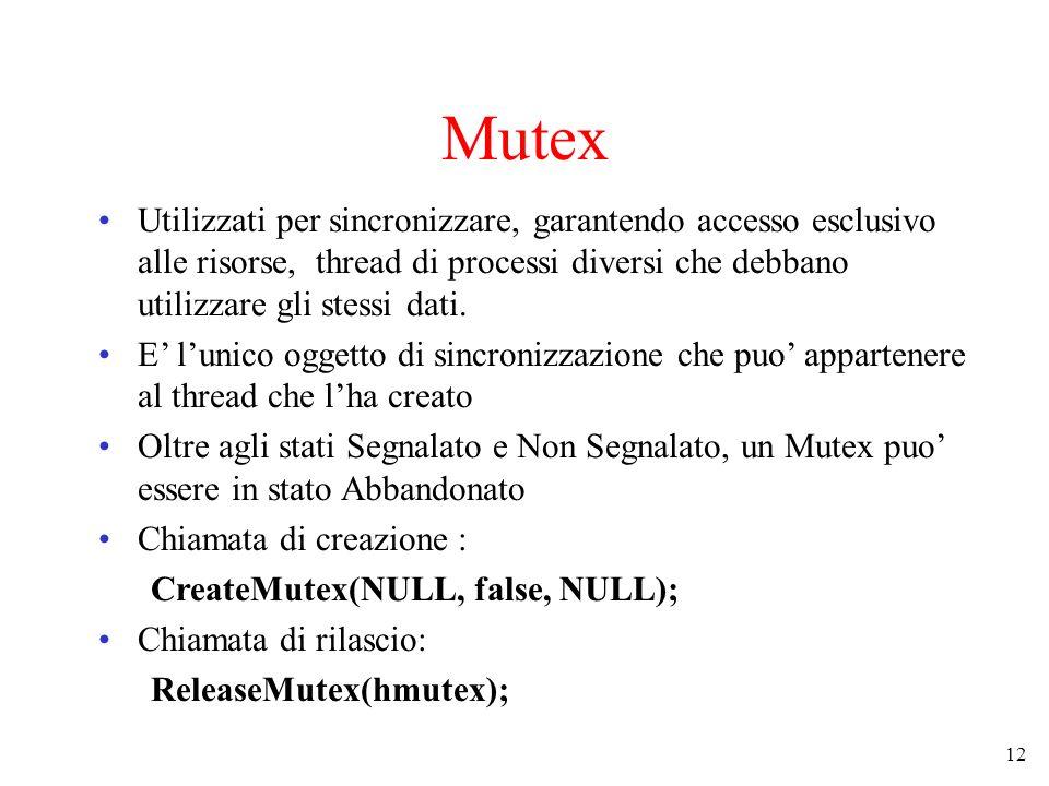 12 Mutex Utilizzati per sincronizzare, garantendo accesso esclusivo alle risorse, thread di processi diversi che debbano utilizzare gli stessi dati. E