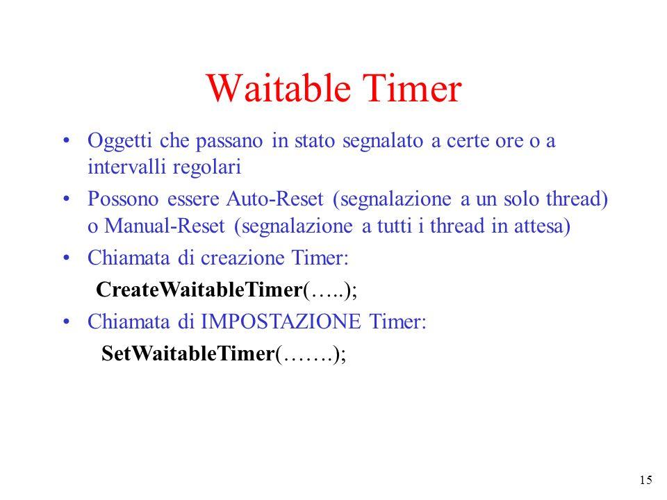 15 Waitable Timer Oggetti che passano in stato segnalato a certe ore o a intervalli regolari Possono essere Auto-Reset (segnalazione a un solo thread)
