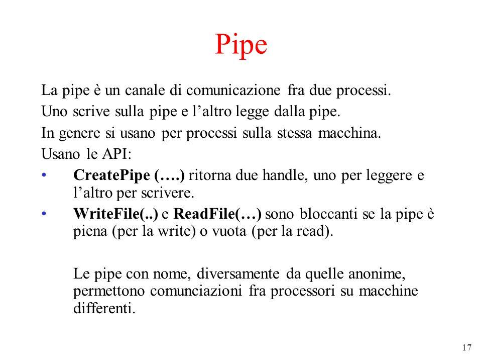 17 Pipe La pipe è un canale di comunicazione fra due processi. Uno scrive sulla pipe e laltro legge dalla pipe. In genere si usano per processi sulla