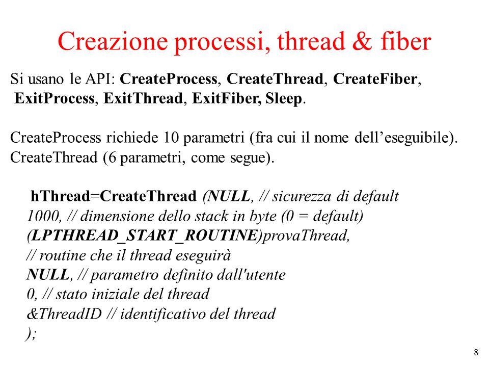 8 Creazione processi, thread & fiber Si usano le API: CreateProcess, CreateThread, CreateFiber, ExitProcess, ExitThread, ExitFiber, Sleep. CreateProce