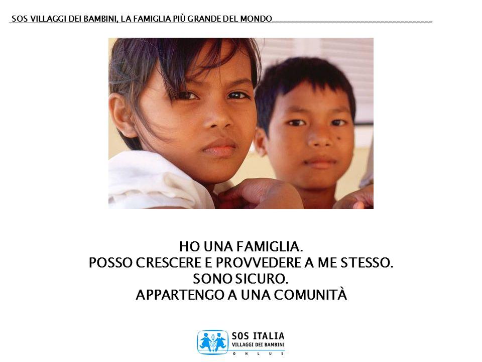 SOS VILLAGGI DEI BAMBINI, LA FAMIGLIA PIÙ GRANDE DEL MONDO________________________________________ LAssociazione SOS Italia Villaggi dei Bambini fa parte di SOS-Kinderdorf International, la più grande organizzazione privata mondiale, apolitica e aconfessionale di assistenza allinfanzia in difficoltà, della quale si applica il modello educativo in Italia e su promuovono i progetti di sviluppo e cooperazione nei paesi del sud del mondo.