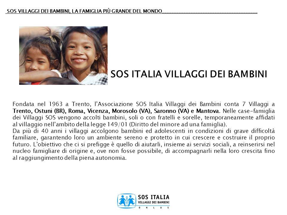 SOS VILLAGGI DEI BAMBINI, LA FAMIGLIA PIÙ GRANDE DEL MONDO________________________________________ Fondata nel 1963 a Trento, lAssociazione SOS Italia