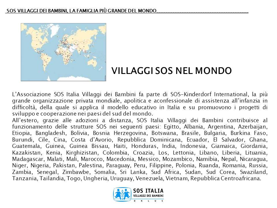 SOS VILLAGGI DEI BAMBINI, LA FAMIGLIA PIÙ GRANDE DEL MONDO________________________________________ LAssociazione SOS Italia Villaggi dei Bambini fa pa