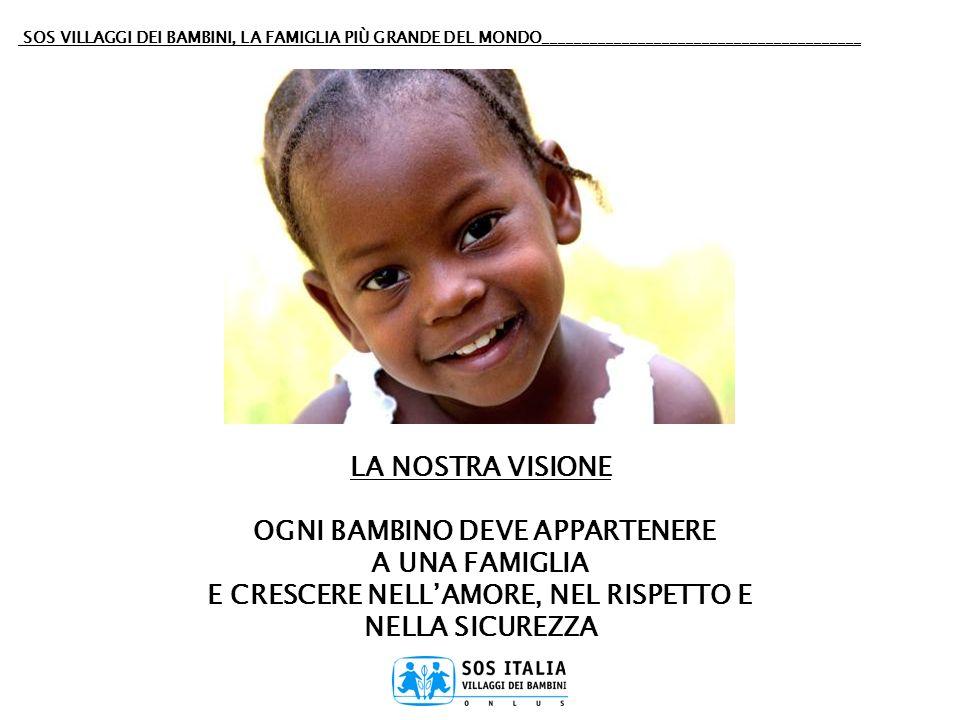 SOS VILLAGGI DEI BAMBINI, LA FAMIGLIA PIÙ GRANDE DEL MONDO________________________________________ LA NOSTRA VISIONE OGNI BAMBINO DEVE APPARTENERE A U