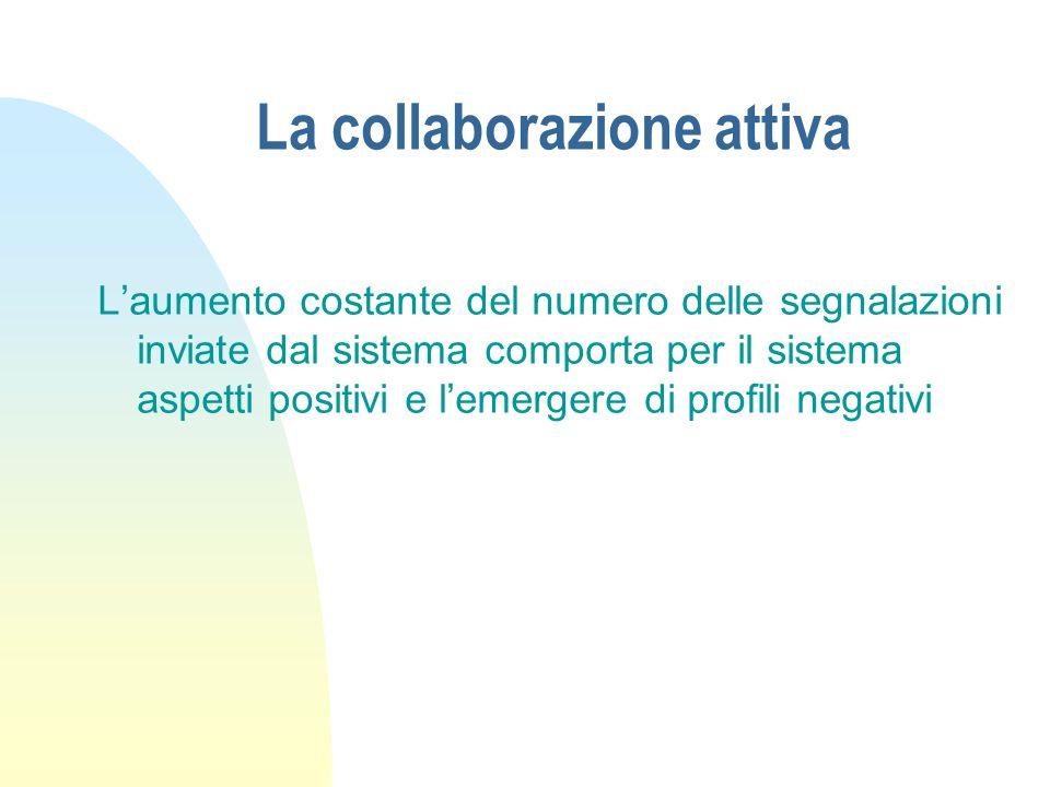 La collaborazione attiva Laumento costante del numero delle segnalazioni inviate dal sistema comporta per il sistema aspetti positivi e lemergere di p