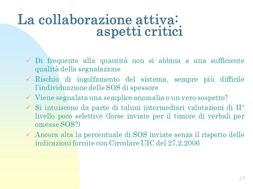La collaborazione attiva: aspetti critici Di frequente alla quantità non si abbina a una sufficiente qualità della segnalazione Rischio di ingolfament