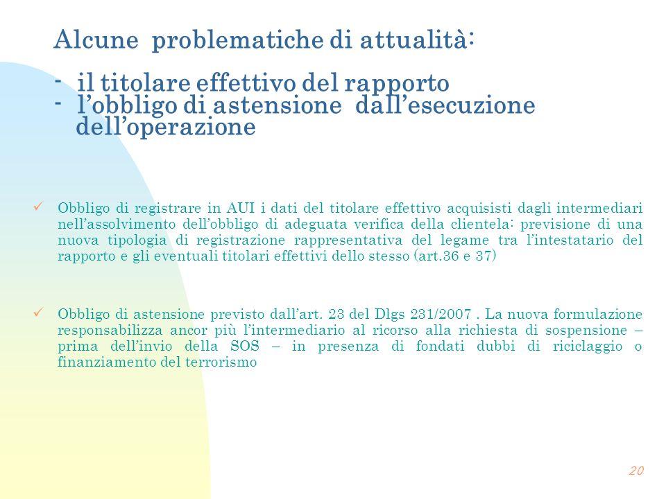 Alcune problematiche di attualità: - il titolare effettivo del rapporto - lobbligo di astensione dallesecuzione delloperazione Obbligo di registrare i
