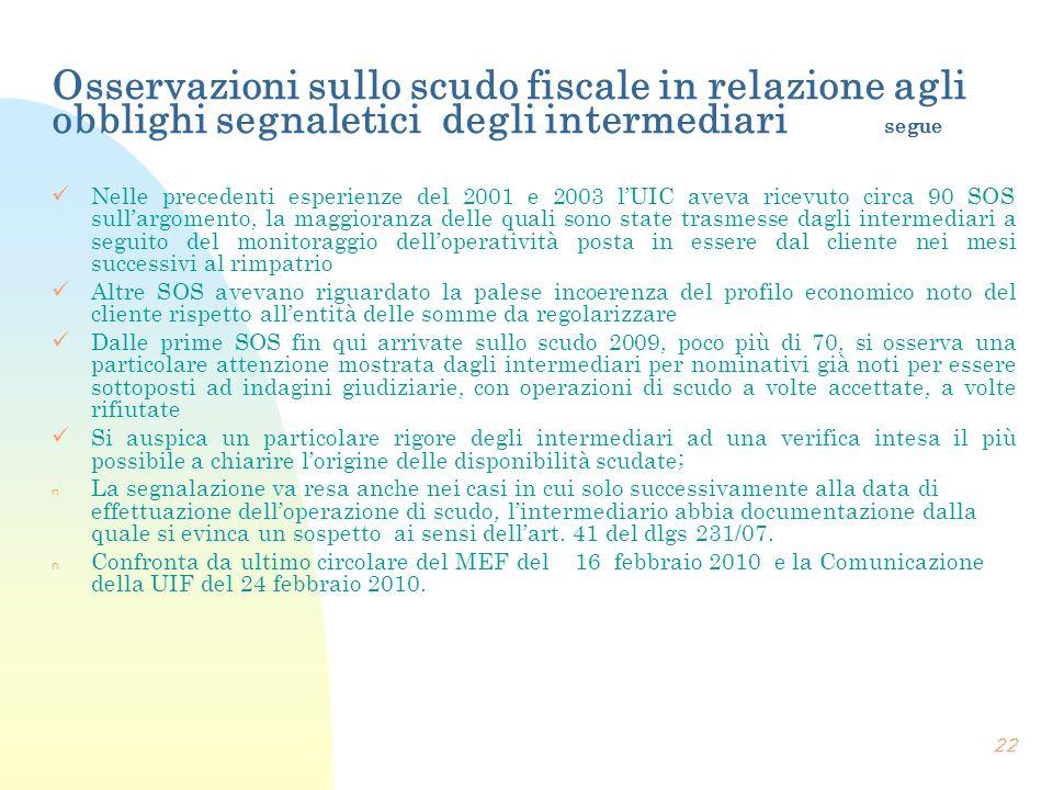 Osservazioni sullo scudo fiscale in relazione agli obblighi segnaletici degli intermediari segue Nelle precedenti esperienze del 2001 e 2003 lUIC avev