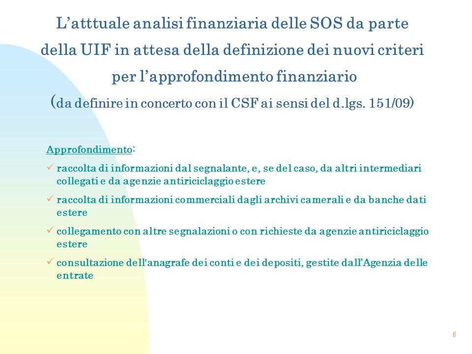 6 Approfondimento: raccolta di informazioni dal segnalante, e, se del caso, da altri intermediari collegati e da agenzie antiriciclaggio estere raccol
