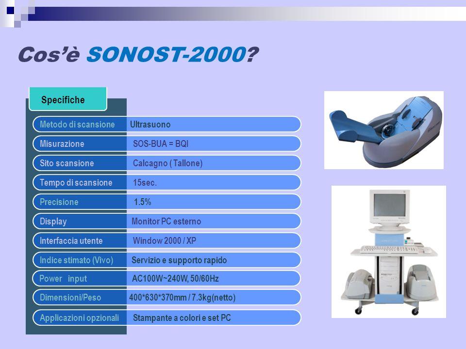 Specifiche Metodo di scansione Ultrasuono Misurazione SOS-BUA = BQI Sito scansioneCalcagno ( Tallone) Tempo di scansione15sec. Precisione 1.5% Display