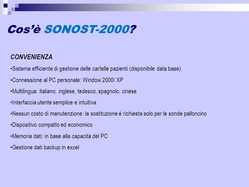 Cosè SONOST-2000? CONVENIENZA Sistema efficiente di gestione delle cartelle pazienti (disponibile data base) Connessione al PC personale: Window 2000/