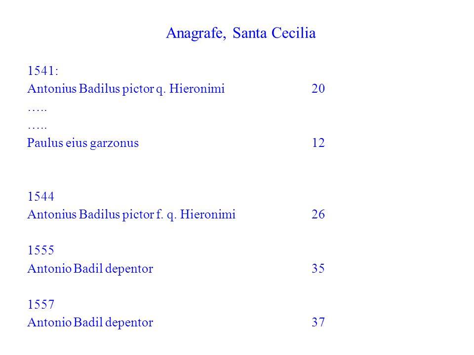 Anagrafe, Santa Cecilia 1541: Antonius Badilus pictor q. Hieronimi 20 ….. Paulus eius garzonus 12 1544 Antonius Badilus pictor f. q. Hieronimi26 1555