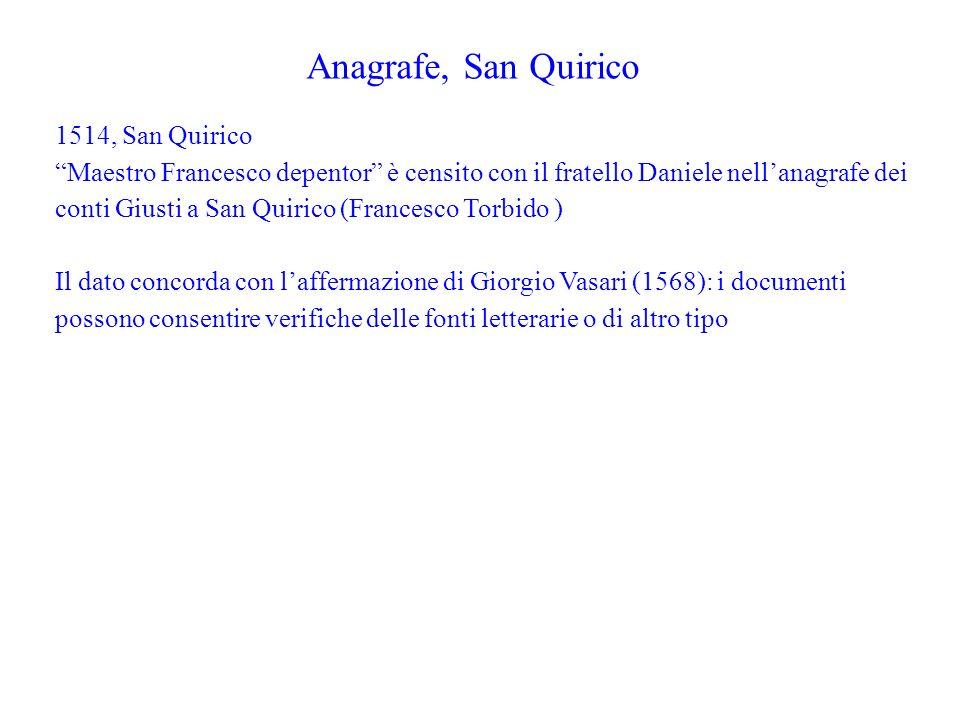Anagrafe, San Quirico 1514, San Quirico Maestro Francesco depentor è censito con il fratello Daniele nellanagrafe dei conti Giusti a San Quirico (Fran