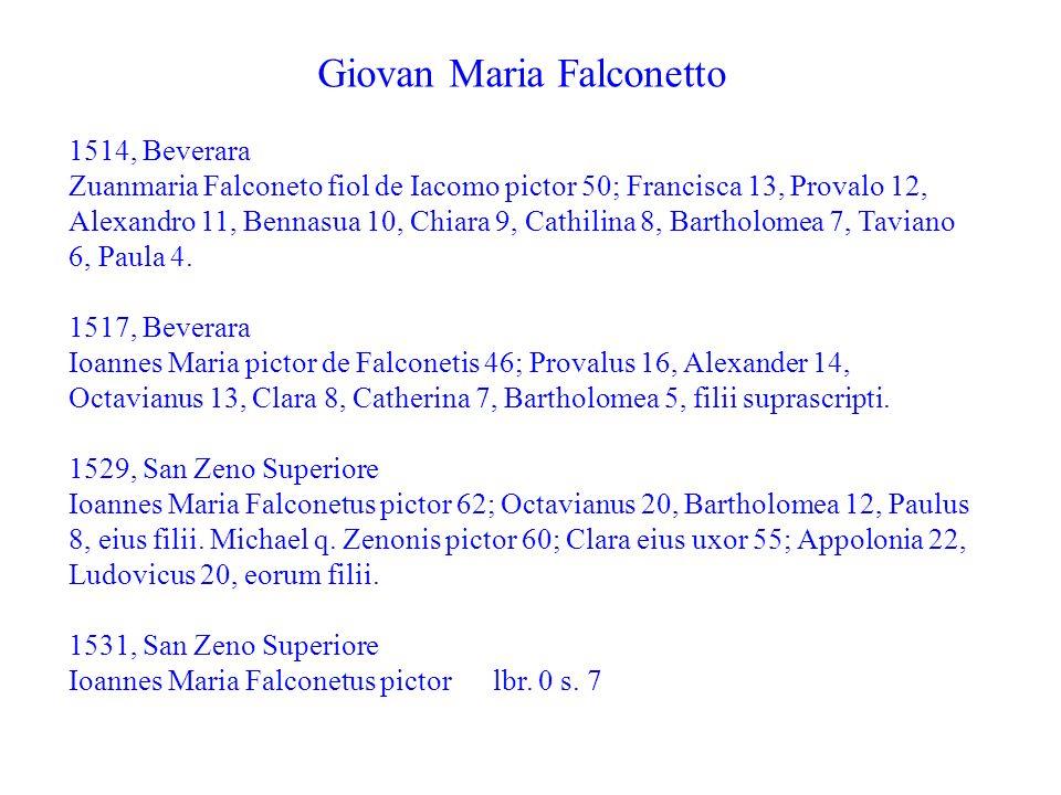 Giovan Maria Falconetto 1514, Beverara Zuanmaria Falconeto fiol de Iacomo pictor 50; Francisca 13, Provalo 12, Alexandro 11, Bennasua 10, Chiara 9, Ca