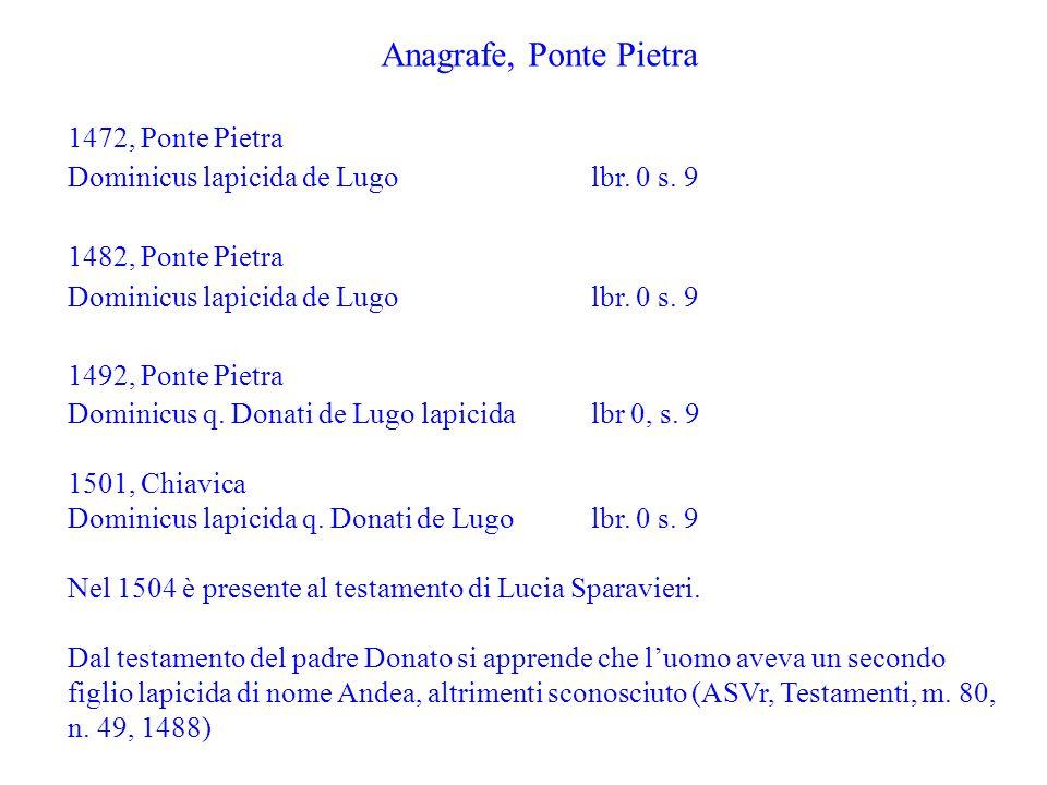 Anagrafe, Ponte Pietra 1472, Ponte Pietra Dominicus lapicida de Lugo lbr. 0 s. 9 1482, Ponte Pietra Dominicus lapicida de Lugo lbr. 0 s. 9 1492, Ponte