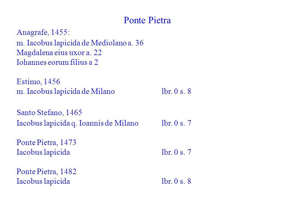 Ponte Pietra Anagrafe, 1455: m. Iacobus lapicida de Mediolano a. 36 Magdalena eius uxor a. 22 Iohannes eorum filius a 2 Estimo, 1456 m. Iacobus lapici