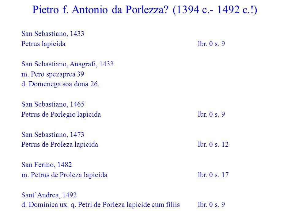 Pietro f.Nicolò Lamberti San Sebastiano, 1433 Petrus lapicida lbr.