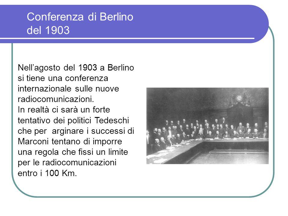 1° collegamento bilaterale 31 ottobre 1902, la Carlo Alberto approda a Sydney, in Canada, ed iniziano gli esperimenti per il primo collegamento bilate