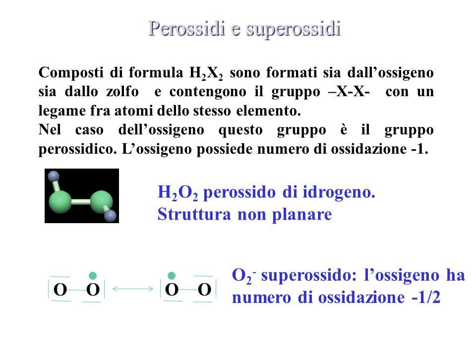 Perossidi e superossidi H 2 O 2 perossido di idrogeno. Struttura non planare O 2 - superossido: lossigeno ha numero di ossidazione -1/2 Composti di fo