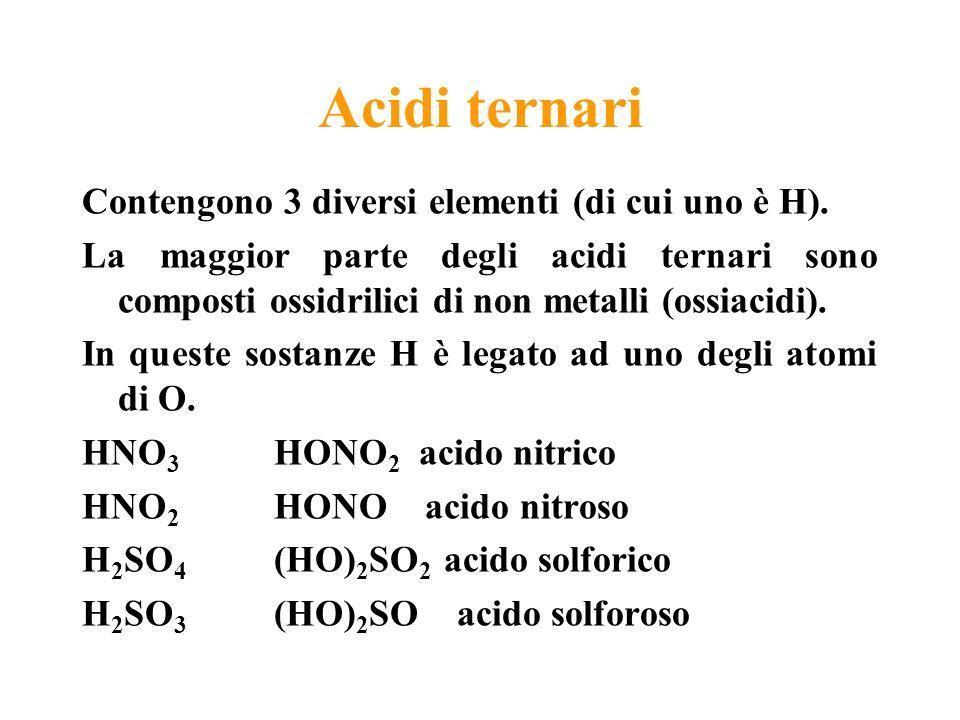 Acidi ternari Contengono 3 diversi elementi (di cui uno è H). La maggior parte degli acidi ternari sono composti ossidrilici di non metalli (ossiacidi