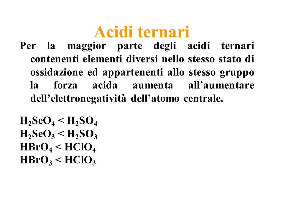 Acidi ternari Per la maggior parte degli acidi ternari contenenti elementi diversi nello stesso stato di ossidazione ed appartenenti allo stesso gruppo la forza acida aumenta allaumentare dellelettronegatività dellatomo centrale.