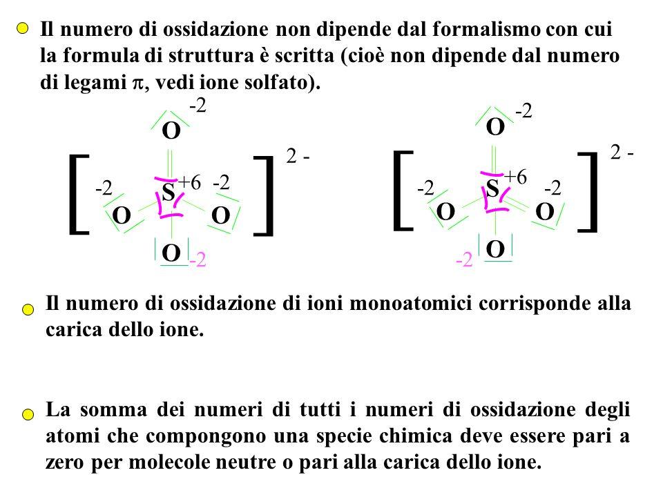 Il numero di ossidazione non dipende dal formalismo con cui la formula di struttura è scritta (cioè non dipende dal numero di legami vedi ione solfato).