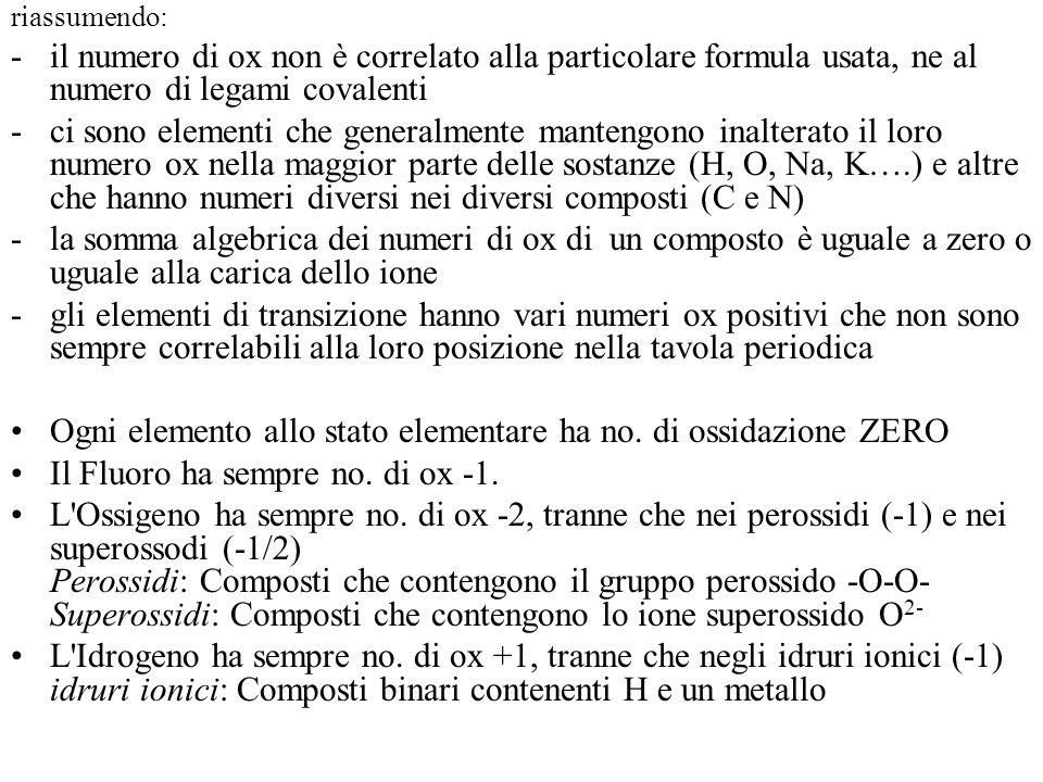 riassumendo: -il numero di ox non è correlato alla particolare formula usata, ne al numero di legami covalenti -ci sono elementi che generalmente mantengono inalterato il loro numero ox nella maggior parte delle sostanze (H, O, Na, K….) e altre che hanno numeri diversi nei diversi composti (C e N) -la somma algebrica dei numeri di ox di un composto è uguale a zero o uguale alla carica dello ione -gli elementi di transizione hanno vari numeri ox positivi che non sono sempre correlabili alla loro posizione nella tavola periodica Ogni elemento allo stato elementare ha no.