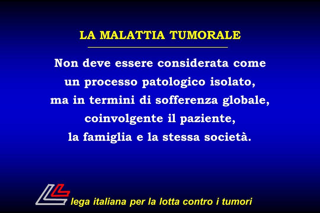LA MALATTIA TUMORALE Non deve essere considerata come un processo patologico isolato, ma in termini di sofferenza globale, coinvolgente il paziente, l