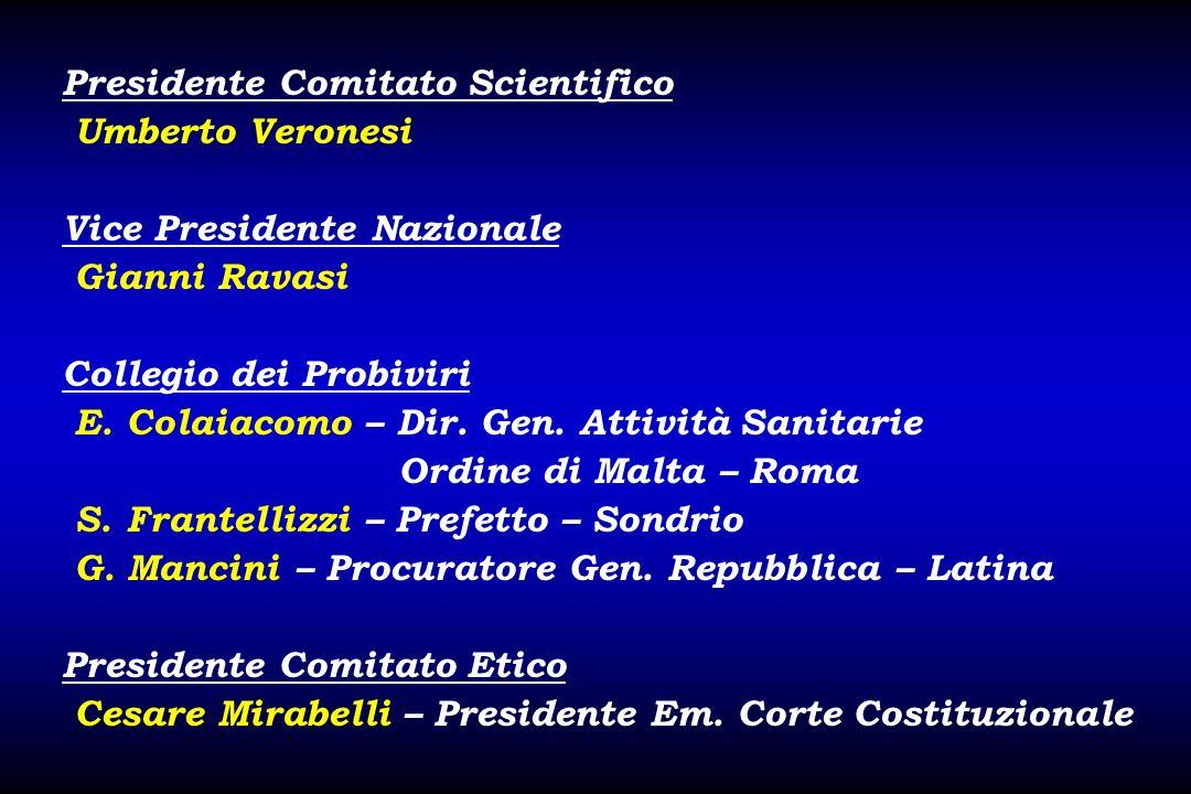 Presidente Comitato Scientifico Umberto Veronesi Vice Presidente Nazionale Gianni Ravasi Collegio dei Probiviri E. Colaiacomo – Dir. Gen. Attività San
