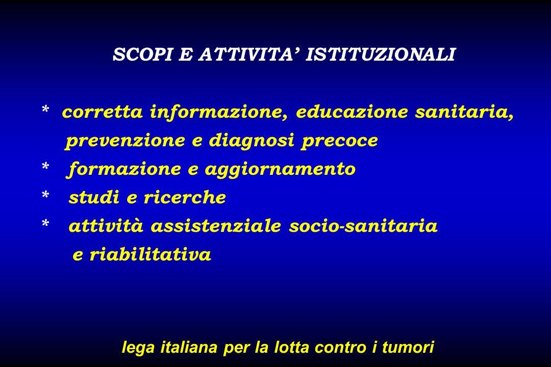 SCOPI E ATTIVITA ISTITUZIONALI * corretta informazione, educazione sanitaria, prevenzione e diagnosi precoce * formazione e aggiornamento * studi e ri