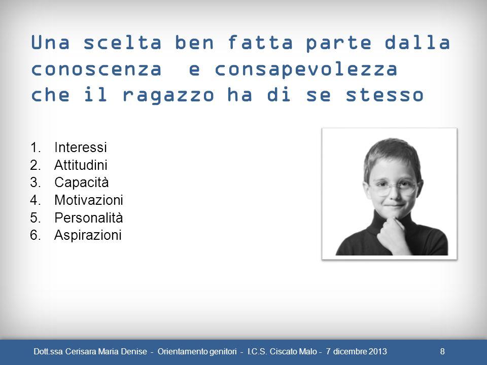 8Dott.ssa Cerisara Maria Denise - Orientamento genitori - I.C.S. Ciscato Malo - 7 dicembre 2013 Una scelta ben fatta parte dalla conoscenza e consapev