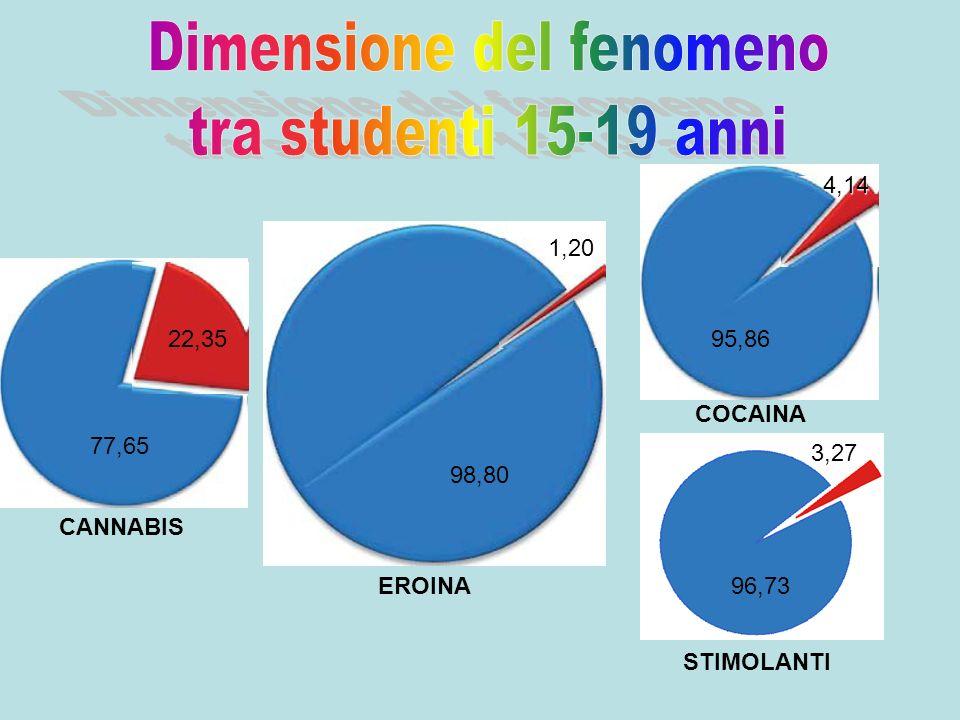 COCAINA 95,86 77,65 22,35 98,80 1,20 4,14 EROINA CANNABIS STIMOLANTI 96,73 3,27