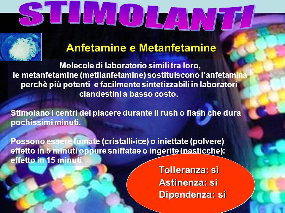 Molecole di laboratorio simili tra loro, le metanfetamine (metilanfetamine) sostituiscono lanfetamina perchè più potenti e facilmente sintetizzabili i