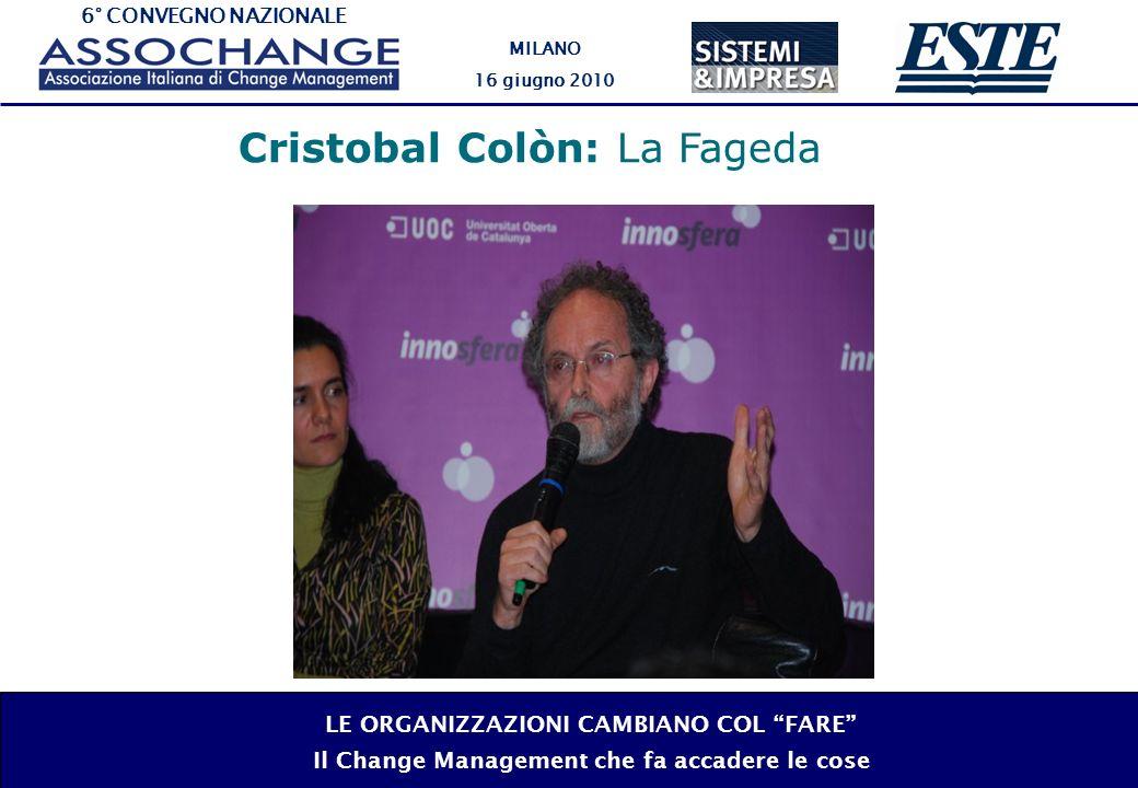 6° CONVEGNO NAZIONALE MILANO 16 giugno 2010 LE ORGANIZZAZIONI CAMBIANO COL FARE Il Change Management che fa accadere le cose Cristobal Colòn: La Fageda