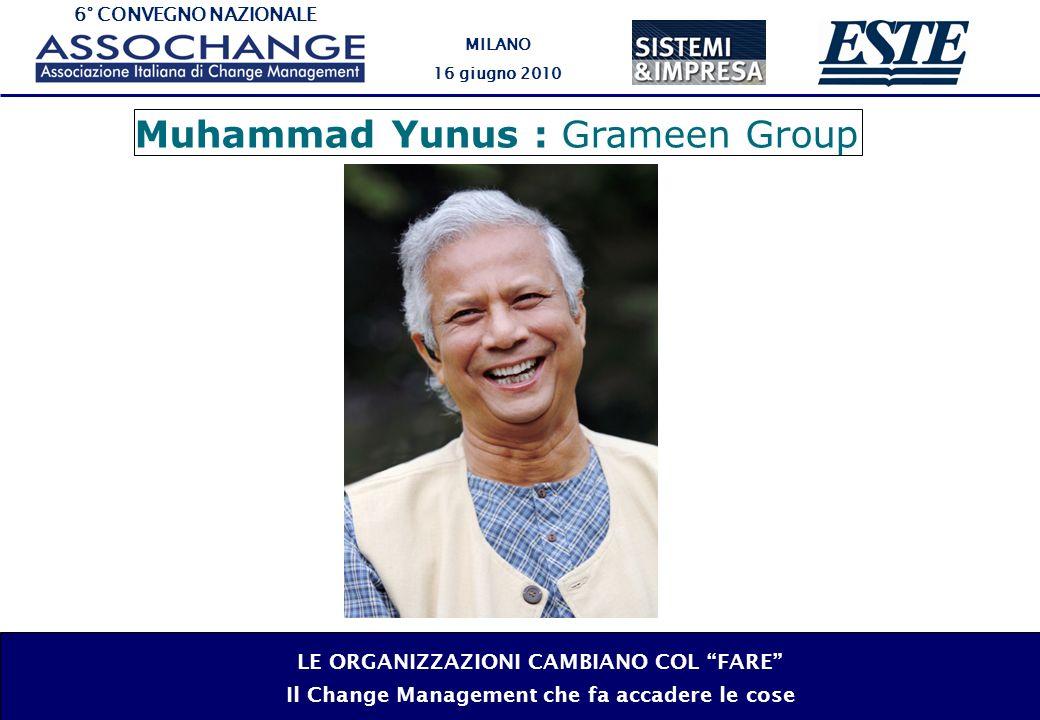 6° CONVEGNO NAZIONALE MILANO 16 giugno 2010 LE ORGANIZZAZIONI CAMBIANO COL FARE Il Change Management che fa accadere le cose Muhammad Yunus : Grameen Group