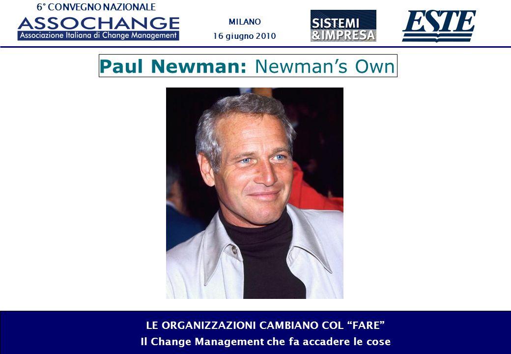 6° CONVEGNO NAZIONALE MILANO 16 giugno 2010 LE ORGANIZZAZIONI CAMBIANO COL FARE Il Change Management che fa accadere le cose Paul Newman: Newmans Own