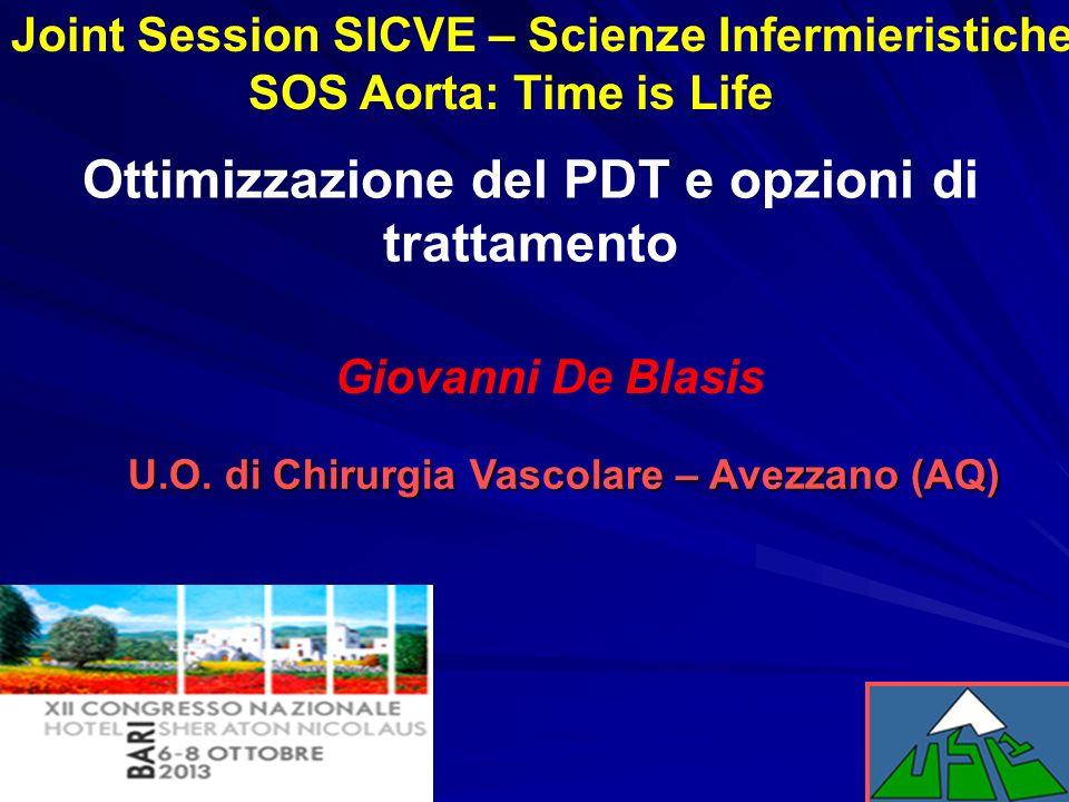 Ottimizzazione del PDT e opzioni di trattamento Giovanni De Blasis U.O. di Chirurgia Vascolare – Avezzano (AQ) Joint Session SICVE – Scienze Infermier