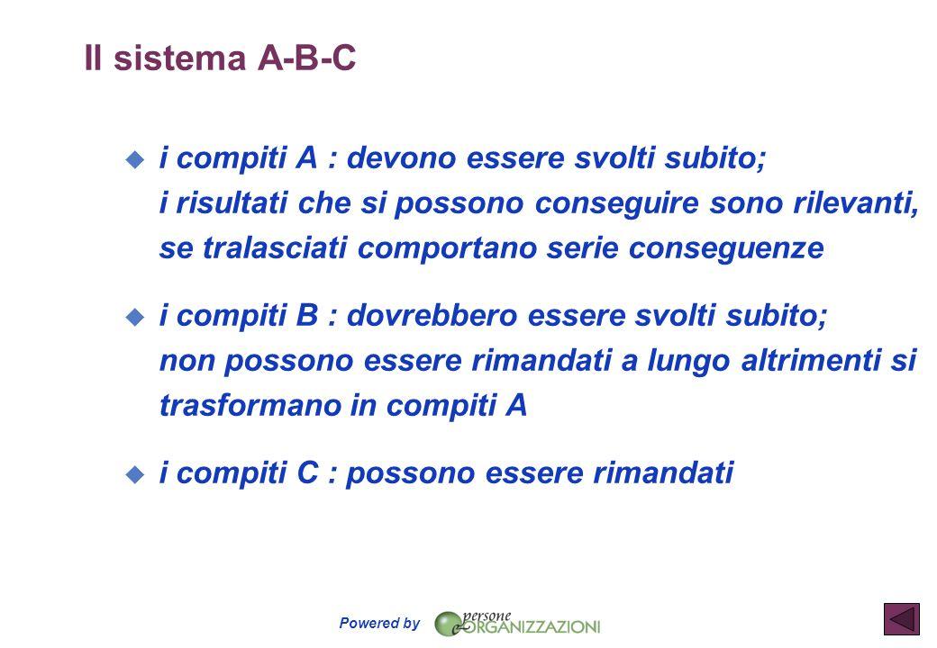 Powered by Il sistema A-B-C u i compiti A : devono essere svolti subito; i risultati che si possono conseguire sono rilevanti, se tralasciati comporta