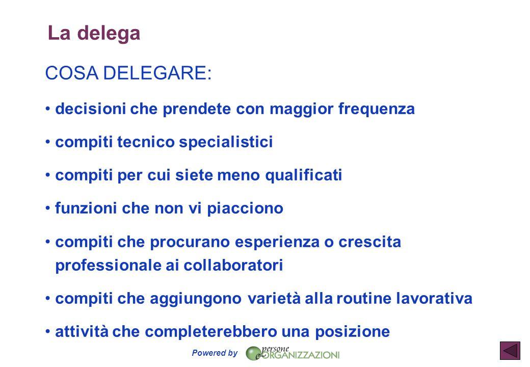 Powered by La delega COSA DELEGARE: decisioni che prendete con maggior frequenza compiti tecnico specialistici compiti per cui siete meno qualificati
